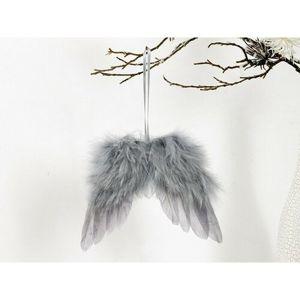 Anjelské krídla z peria 18 x 16 cm, sivá