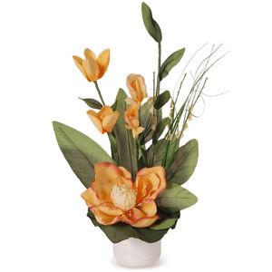 Aranžmá Magnólia v kvetináči oranžová, 50 cm