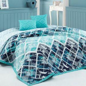BedTex Prehoz na posteľ Riviéra tyrkysová, 220 x 240 cm, 2x 40 x 40 cm