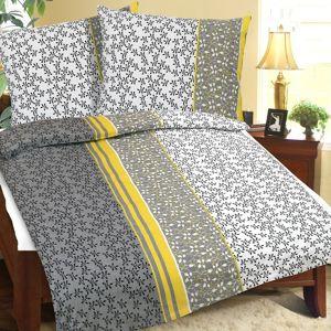 Bellatex Bavlnené obliečky Kvetinka sivá, 140 x 220 cm, 70 x 90 cm