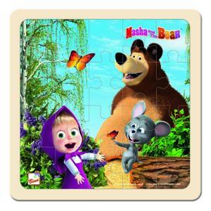 Bino Puzzle Máša a medveď s myškou, 20 x 20 cm