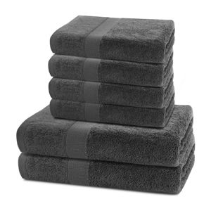 DecoKing Sada uterákov a osušiek Marina charcoal, 4 ks 50 x 100 cm, 2 ks 70 x 140 cm