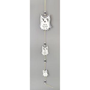 Drevená závesná dekorácia Sova biela, 50 cm