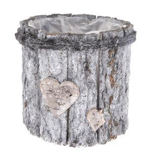Drevený obal na kvetináč Srdce, sivá, 15 x 15 x 15 cm