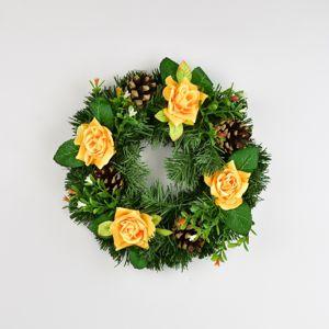 Dušičkový veniec s ružami 25 cm, žltá