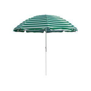 Slnečník plážový 230 cm, HAPPY GREEN, zelené pruhy