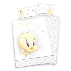 Herding Detské BIO bavlnené obliečky do postieľky Looney Tunes, 135 x 100 cm, 40 x 60 cm