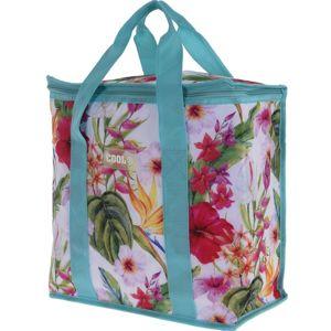 Chladiaca taška Tropical flowers modrá, 16 l