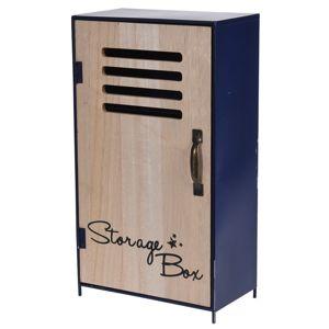 Koopman Dekoračná úložná skříňka Workshop modrá, 18 x 32 x 10 cm
