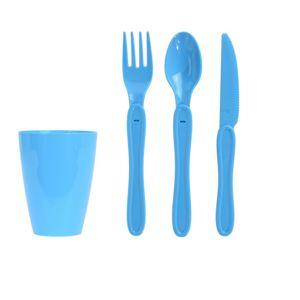 Pikniková sada plastového riadu 31 ks, modrá