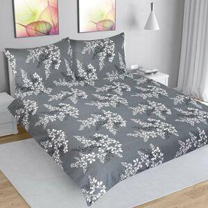 Bellatex Krepové obliečky Vetvička sivá, 200 x 220 cm, 2 ks 70 x 90 cm