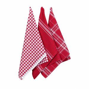 Forbyt Kuchynská utierka s čipkou červená, 50 x 70 cm, sada 3 ks