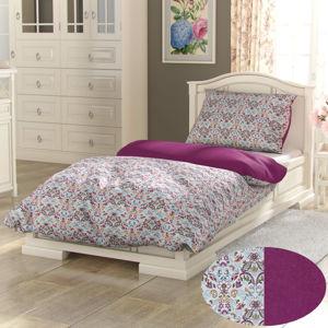 Kvalitex Bavlnené obliečky Provence Narista purpurová, 140 x 200 cm, 70 x 90 cm