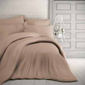 Kvalitex Saténové obliečky Stripe béžová, 220 x 200 cm, 2 ks 70 x 90 cm