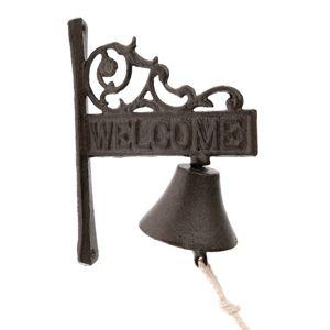 Liatinový zvonček Welcome, 17 x 21 x 9 cm