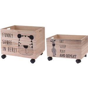 Sada dekoračných úložných boxov Hatu Tiger a zebra, 2 ks