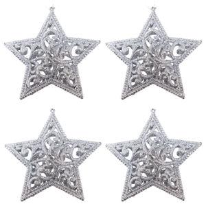 Sada závesných ozdôb Shiny Hviezda strieborná, 4 ks