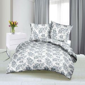 Bellatex Saténové obliečky Ruže sivá, 140 x 200 cm, 70 x 90 cm