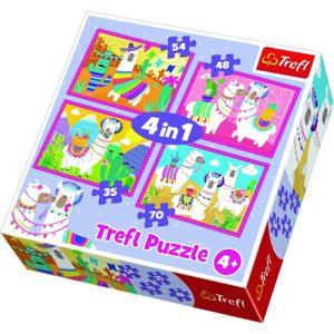 TREFL Puzzle Veselé lamy 4v1 (35,48,54,70 dílků)