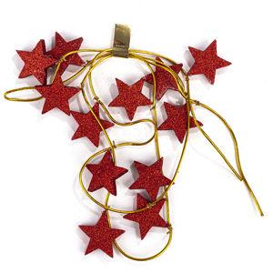 Vianočná girlanda s hviezdami červená, 220 cm