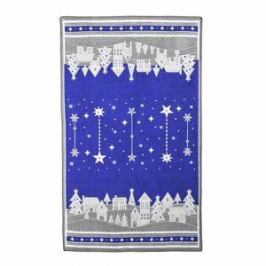 Forbyt Vianočná utierka Zimná dedinka modrá, 45 x 70 cm