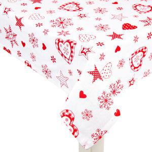 Forbyt Vianočný obrus Vločka a srdce červená
